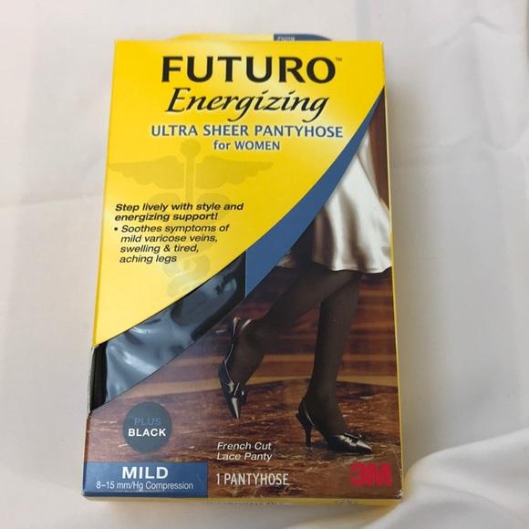 2d35191b5ad Futuro Compression Black Sheer Pantyhose Plus Size